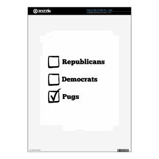 Pick Pugs! Political Election Pug Print Skins For iPad 2