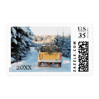 Pick up truck with pine tree on back postage