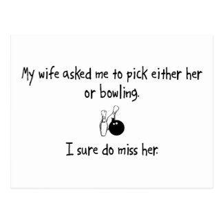 Pick Wife or Bowling Postcard