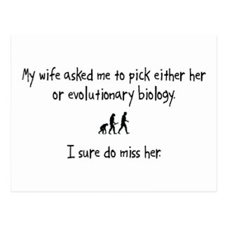 Pick Wife or Evolutionary Biology Postcard