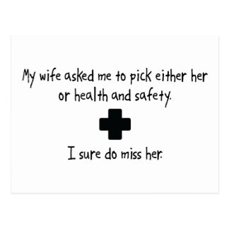 Pick Wife or Health And Safety Postcard