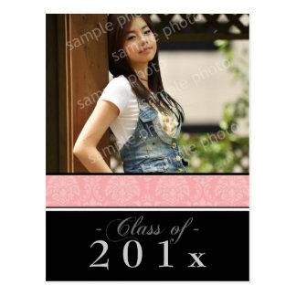Pick YOUR Color Damask Graduation Announcement Post Cards