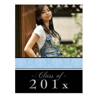 Pick YOUR Color Damask Graduation Announcement Postcard
