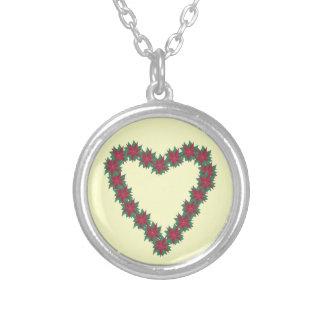 Pick Your Color Poinsettia Heart Necklaces
