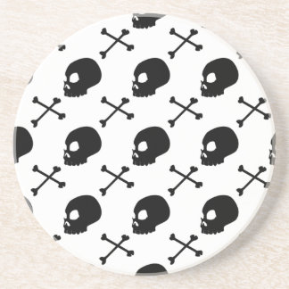 Pick Your Color Skulls and Cross Bones Pattern Drink Coaster