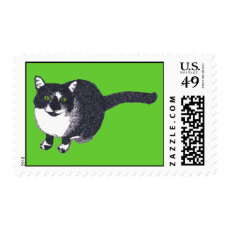 Pick your color Tuxedo Pointillism Cat Stamps