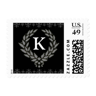 PICK YOUR COLOR Victorian Wreath Monogram Stamp: K Stamps