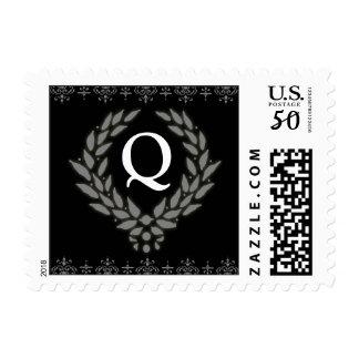 PICK YOUR COLOR Victorian Wreath Monogram Stamp: Q Postage