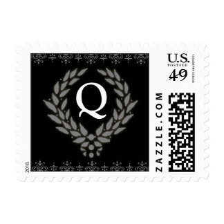 PICK YOUR COLOR Victorian Wreath Monogram Stamp: Q Postage