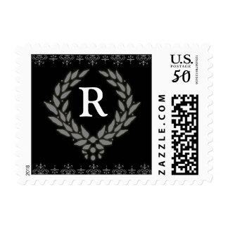 PICK YOUR COLOR Victorian Wreath Monogram Stamp: R Postage
