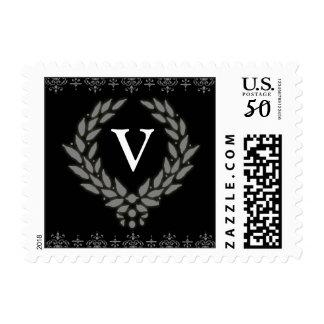 PICK YOUR COLOR Victorian Wreath Monogram Stamp: V Postage