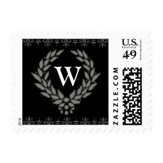 PICK YOUR COLOR Victorian Wreath Monogram Stamp: W