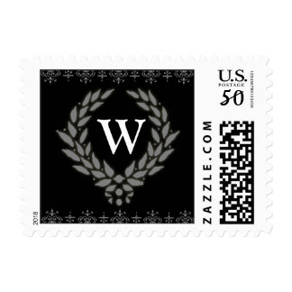 PICK YOUR COLOR Victorian Wreath Monogram Stamp: W Postage