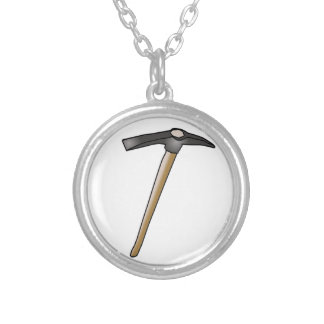 Pickaxe2 or Pick Axe 2 Silver Plated Necklace