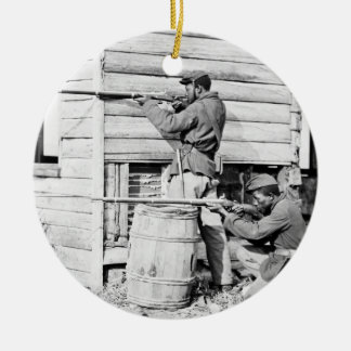 Picket Station of Colored Troops Dutch Gap Canal Double-Sided Ceramic Round Christmas Ornament
