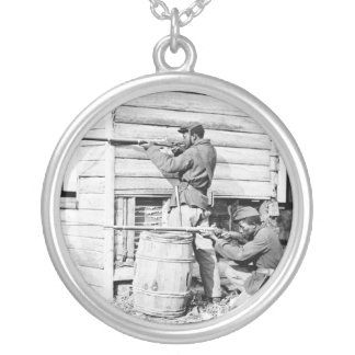 Picket Station of Colored Troops Dutch Gap Canal Round Pendant Necklace