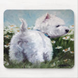 picking daisies - west highland terrier mousepad