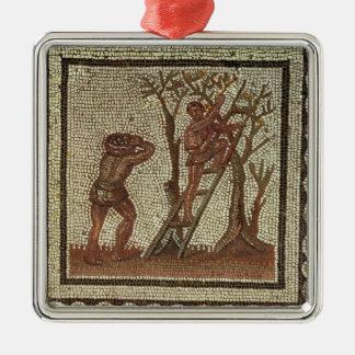 Picking Fruit, Roman Mosaic Metal Ornament