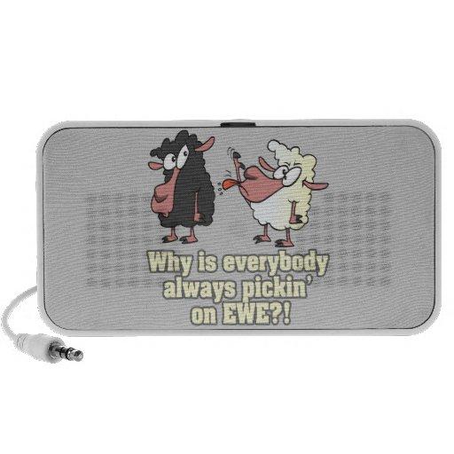 picking on EWE black sheep humor Notebook Speakers