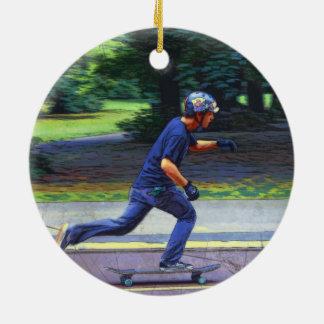 Picking Up Speed  -  Skateboarder Ceramic Ornament