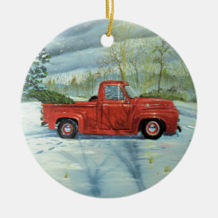 Old Red Truck Christmas Ornaments Zazzle 100 Satisfaction Guaranteed