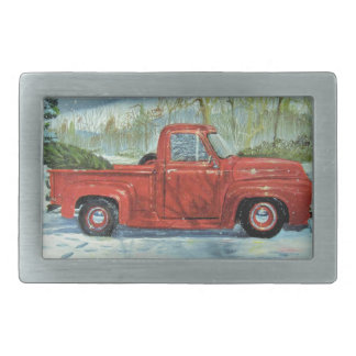 Picking up the Tree for Christmas Rectangular Belt Buckle