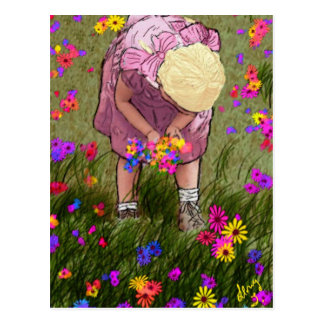 Picking Wild Flowers Postcard