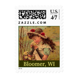 Picking Wildflowers Bloomer Wisc WI Vintage Stamps