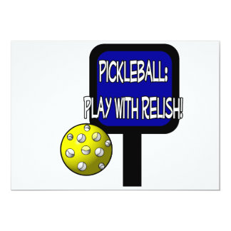 Pickle and a round ball : Play with Relish! 5x7 Paper Invitation Card