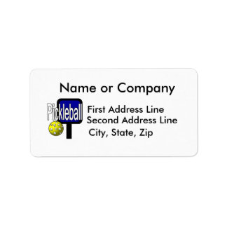 Pickle and ball graphic with paddle and ball address label