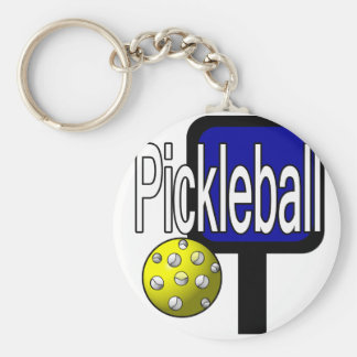 Pickle and ball graphic with paddle and ball basic round button keychain