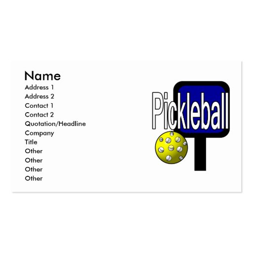 Pickle and ball graphic with paddle and ball business cards