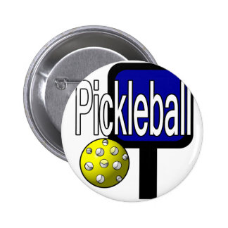 Pickle and ball graphic with paddle and ball pinback button