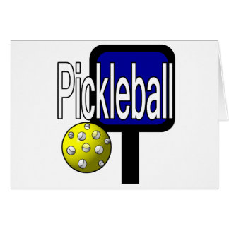 Pickle and ball graphic with paddle and ball card