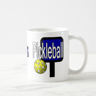 Pickle and ball graphic with paddle and ball coffee mug