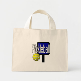 Pickle and ball graphic with paddle and ball mini tote bag