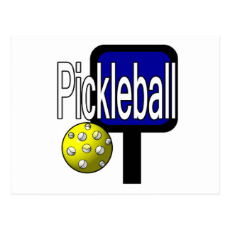 Pickle and ball graphic with paddle and ball postcard