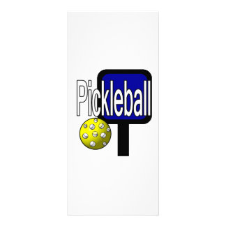 Pickle and ball graphic with paddle and ball rack card