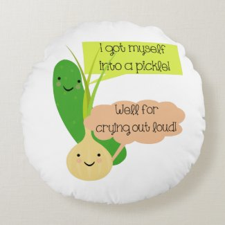 Pickle and Onion Humor Round Pillow