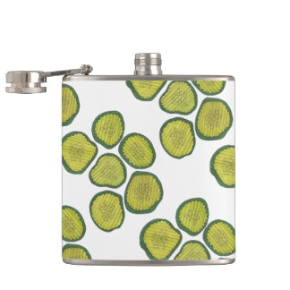Pickle Chips Sweet Pickles Food Green Dill Gift Hip Flask