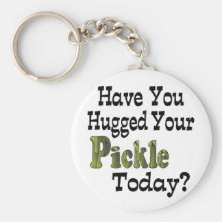 Pickle Hugger Basic Round Button Keychain