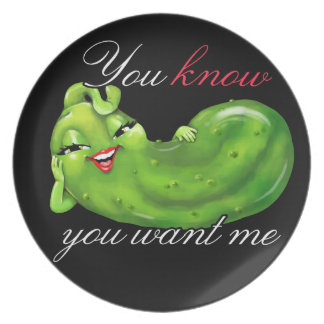 Pickle lovers collectors - a cute pickle! melamine plate