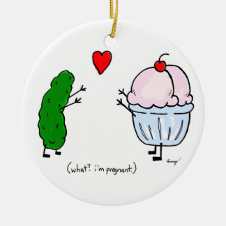 Pickle Loves Ice Cream Ornament - Pink
