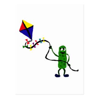 Pickle Man Flying Kite Postcards