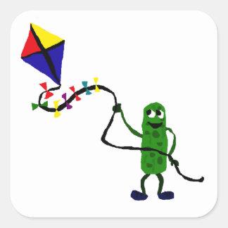 Pickle Man Flying Kite Square Sticker