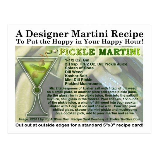 Pickle Martini Recipe Postcard