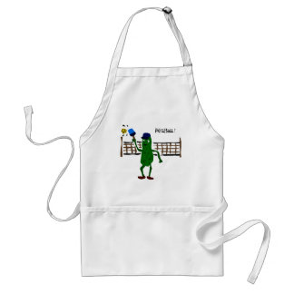 Pickle Playing Pickleball Primitive Art Adult Apron