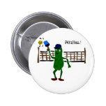 Pickle Playing Pickleball Primitive Art 2 Inch Round Button