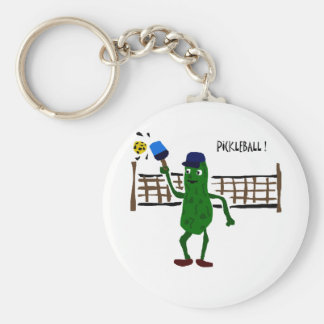Pickle Playing Pickleball Primitive Art Keychain