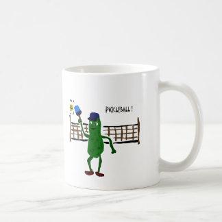 Pickle Playing Pickleball Primitive Art Classic White Coffee Mug